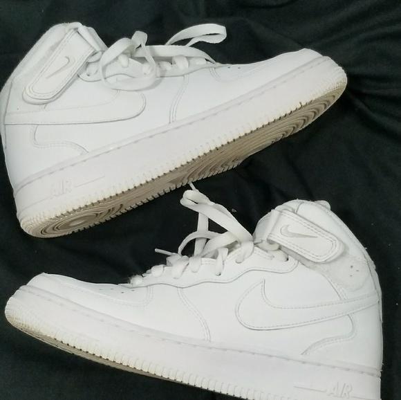 All White High Top Nike Air Force 1's EUC